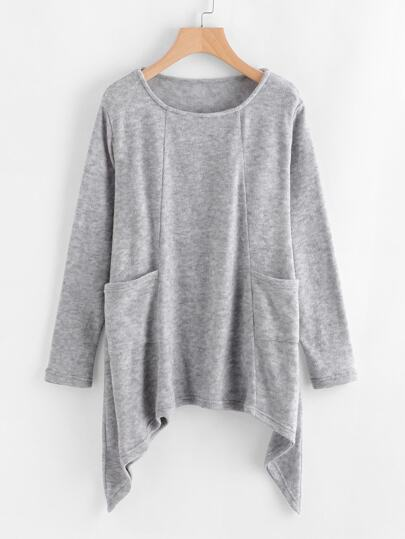 Asymmetrical Hem Pocket Knit Sweater