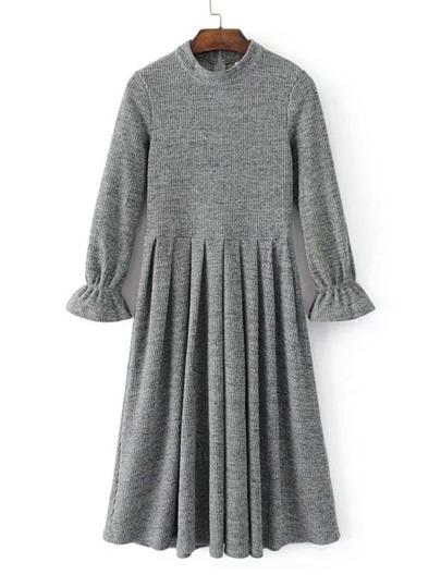 Flute Sleeve Pleated Hem Knit Dress