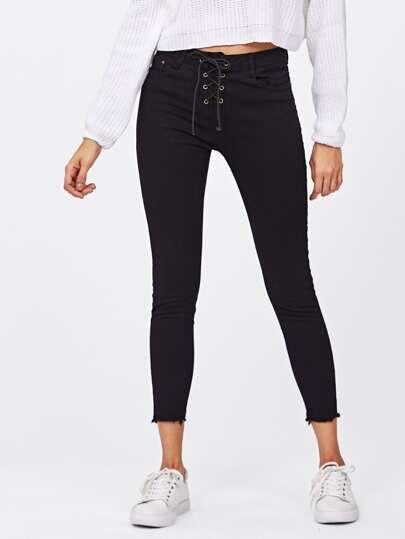 Lace Up Frayed Hem Skinny Jeans