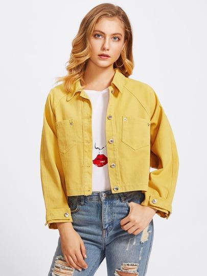 Crop Jeansjacke mit Tasche vorn