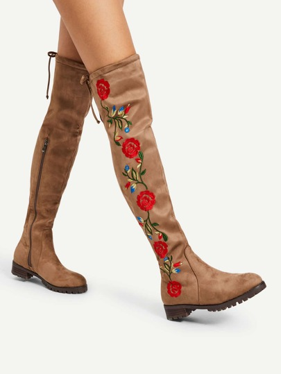Flower Embroidery Over The Knee Boots