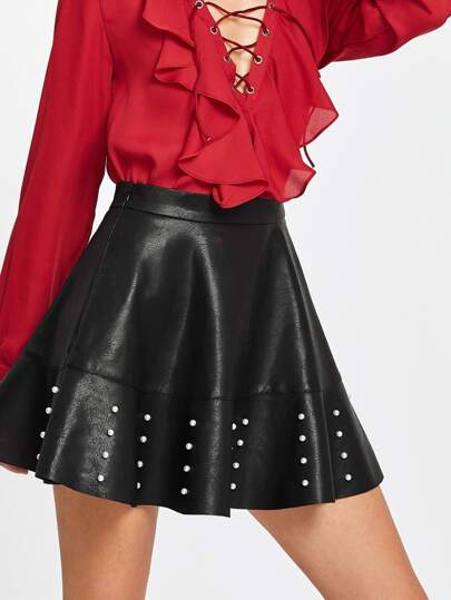 Pearl Embellished Raw Hem Flared PU Skirt