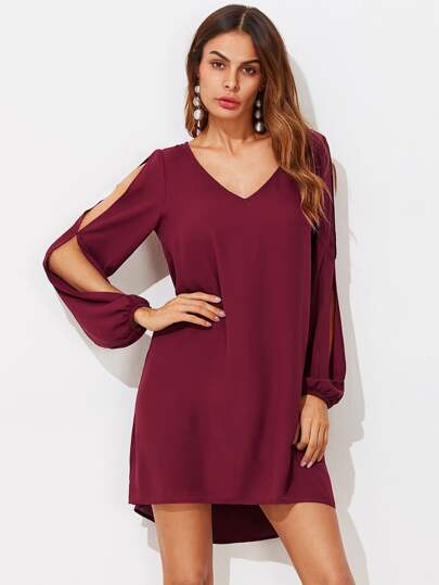 Split Sleeve Dip Hem Dress