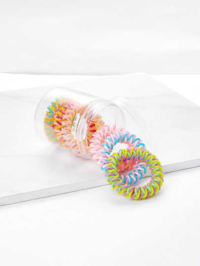 Color Block Coil Hair Tie 6pcs