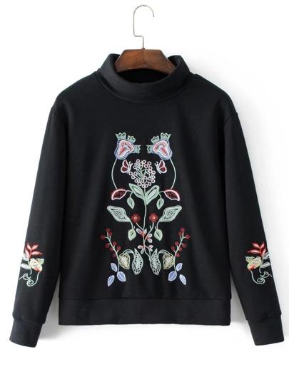 Embroidered Flower Turtleneck Sweatshirt