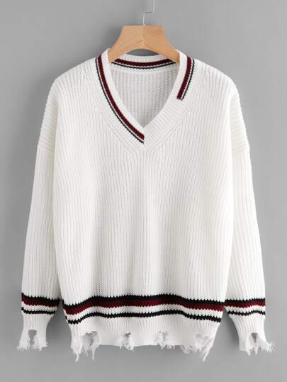 V Neckline Contrast Trim Raw Hem Sweater