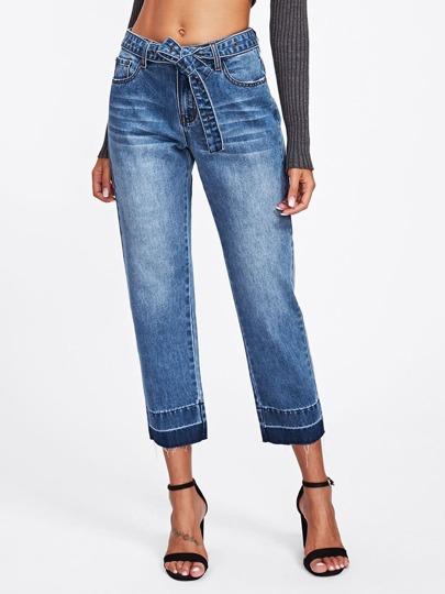Kulotte Jeans mit Selbstgürtel