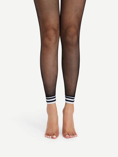 Striped Trim Footless Fishnet Tights