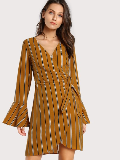 Striped Self Tie Wrap Dress MUSTARD