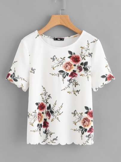 Flower Print Scalloped Top