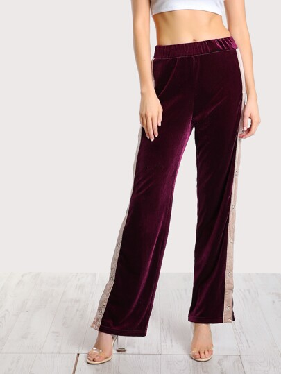 Velvet Side Striped Snap Button Pants BURGUNDY