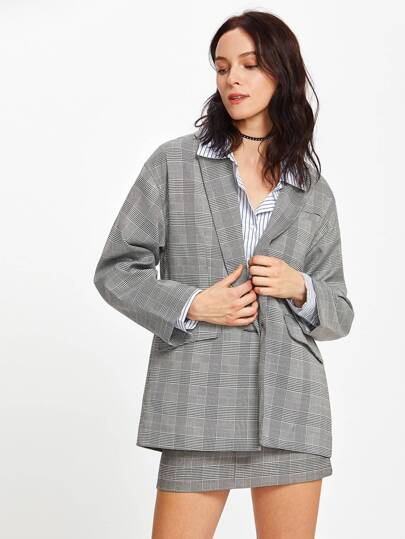 Single Button Plaid Boyfriend Blazer