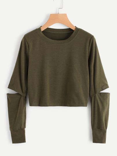 Elbow Rips Crop Sweatshirt