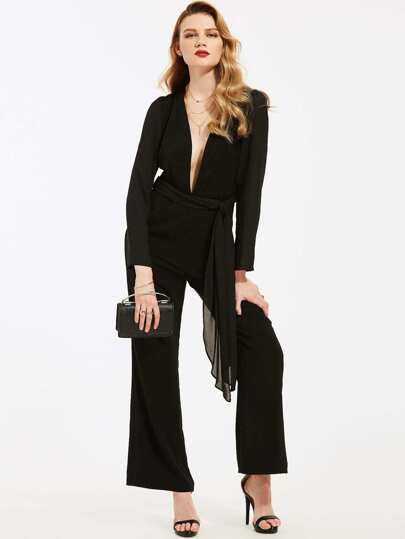 Plunging V-neckline Wide Leg Jumpsuit With Belt