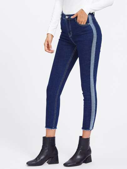 Two-Toned Frayed Hem Crop Jeans