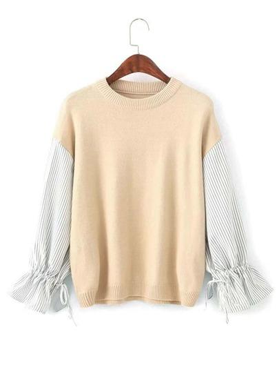 2 In 1 Striped Sleeve Knitwear