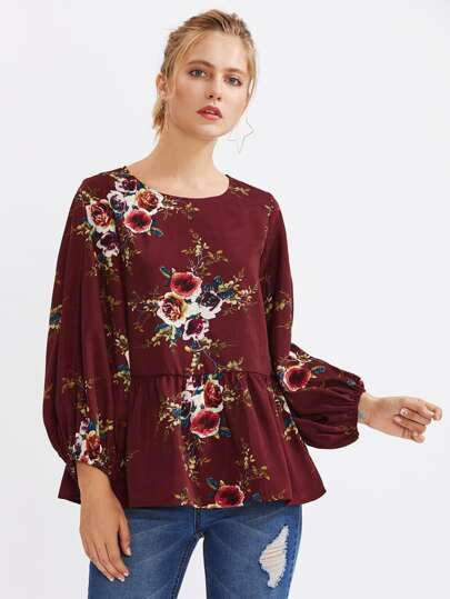Lantern Sleeve Flower Print Smock Top