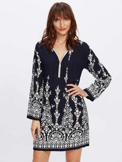 Zip Neckline Vine Print Tunic Dress