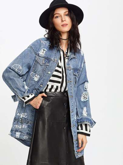 Distressed Graffiti Denim Trucker Jacket