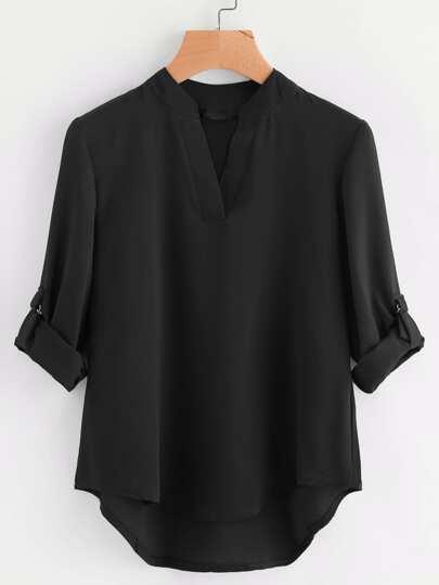 Blusa asimétrica de manga de doblez