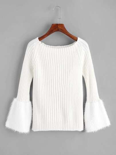 Fur Cuff Ribbed Sweater