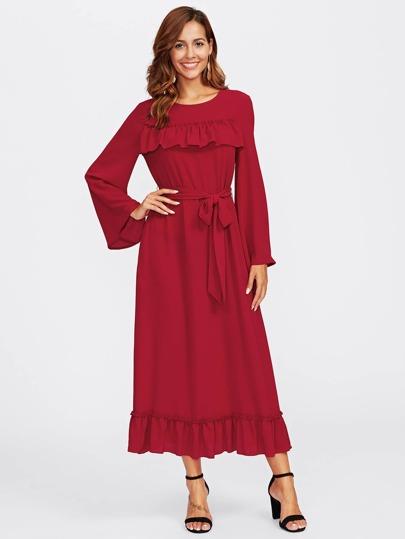 Flounce Detail Self Belted Hijab Evening Dress
