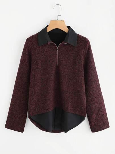 Zip Front 2 In 1 Tweed Top