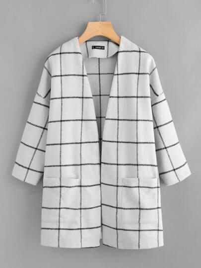 Grid Open Front Dropped Shoulder Coat