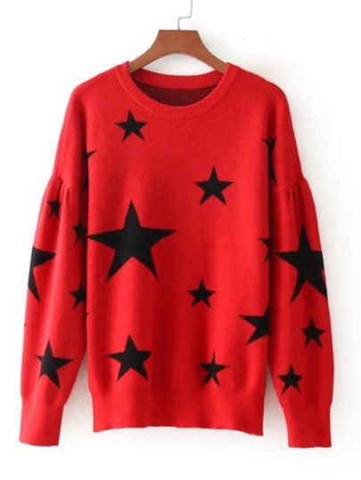Star Pattern Drop Shoulder Knitwear