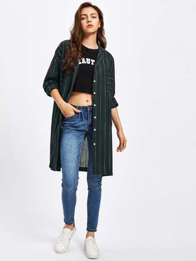 Pinstripe Drop Shoulder Shirt