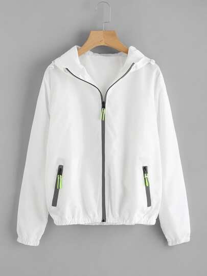 Shirred Trim Hooded Jacket