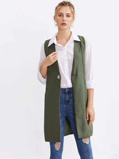 Metal Grommet Detail Sleeveless Blazer