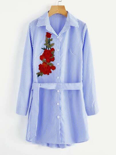 Vertical Striped Embroidered Applique Shirt Dress