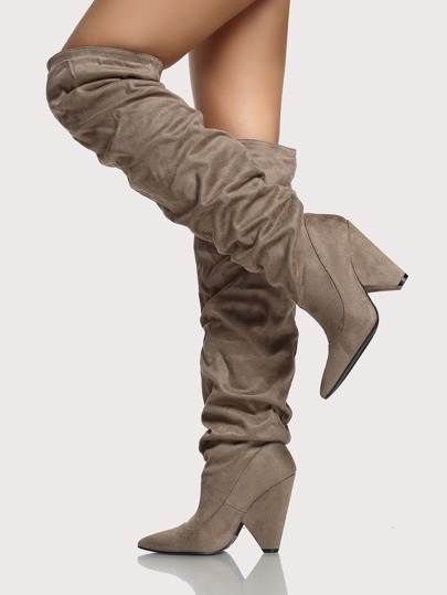 Slouch Thigh High Boots TAUPE