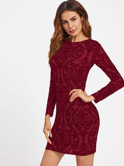 Open Back Paisley Print Fit Dress