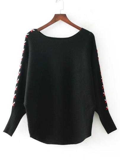 Lace Up Batwing Sleeve Knitwear