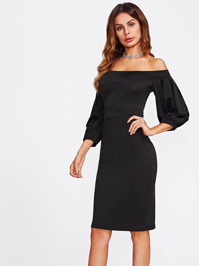 Bardot Lantern Sleeve Sheath Dress