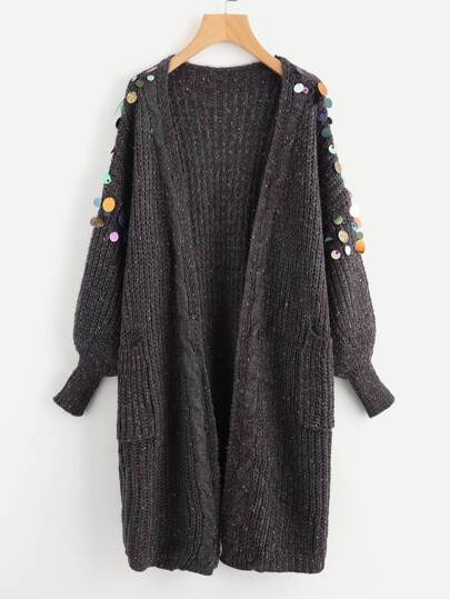 Sequin Detail Lantern Sleeve Sweater Coat