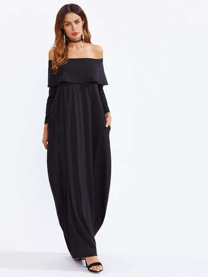 Flounce Layered Neckline Cocoon Dress