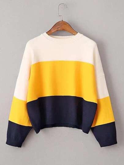 Jersey con hombros caídos de color combinado