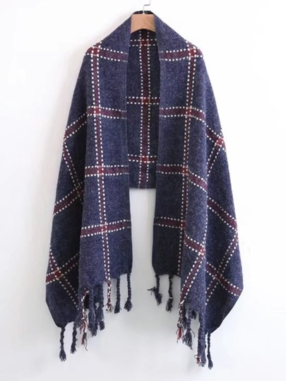 Braided Fringe Plaid Scarf
