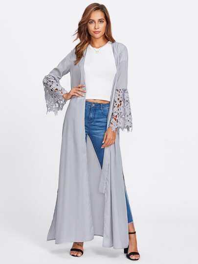 Cutout Lace Bell Sleeve Belted Abaya