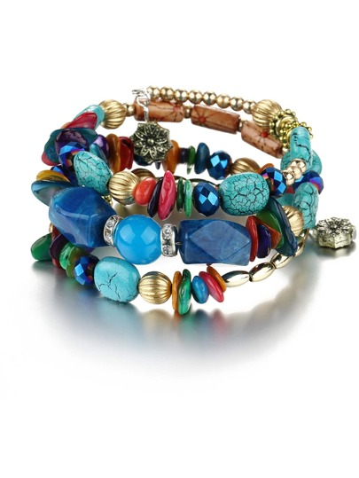 Mixed Shape Charm Beaded Layered Bracelet