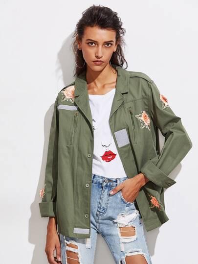 Cappotto con applique di fiore