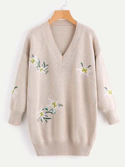 V Neckline Floral Embroidered Knit Sweater