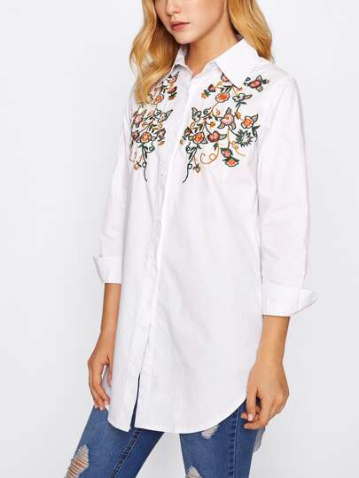 Flower Embroidery Longline Blouse