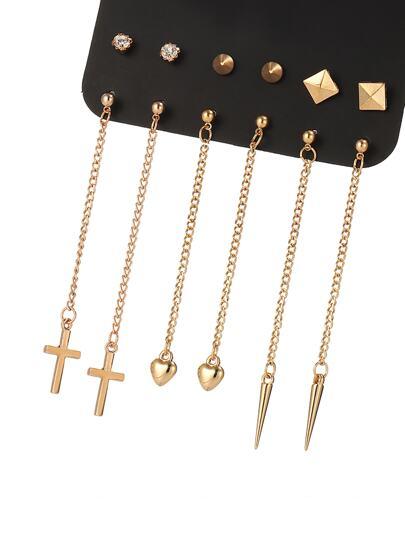6 pares de pendientes con diseño de corazón y cruz