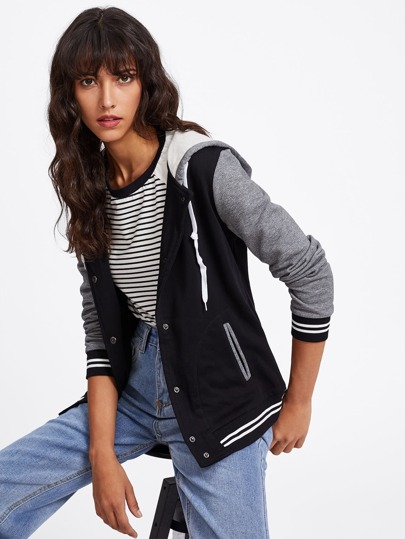 Contrast Sleeve Hooded Baseball Jacket