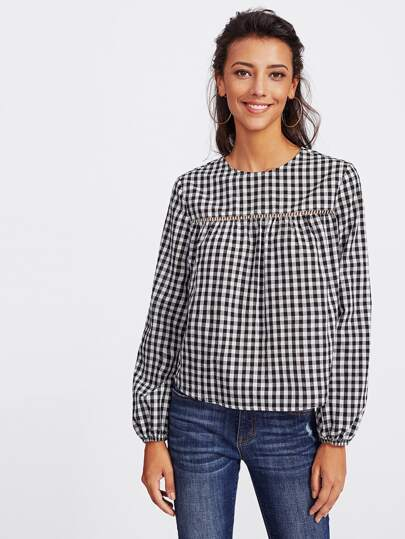 Buttoned Keyhole Ladder Lace Insert Gingham Top