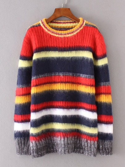 Suéter con pelusa de rayas combinado